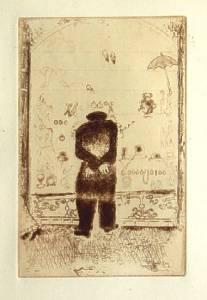 [Grossbild Chagall Original-Radierung in Rötel L´Envie - Die Gier #R10r]