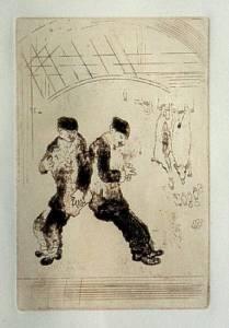 [Grossbild Chagall Original-Radierung in Rötel La Gourmandise - Die Völlerei #R11r]