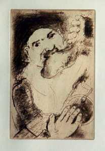 [Grossbild Chagall Original-Radierung in Rötel La Gourmandise - Die Völlerei #R12r]
