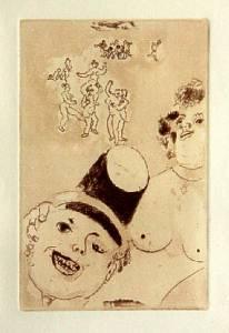 [Grossbild Chagall Original-Radierung in Rötel La Luxure - Die Wollust #R13r]