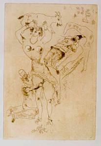 [Grossbild Chagall Original-Radierung in Rötel L´Erotic - Die Erotic #R16r]