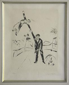 [Grossbild Chagall Original-Radierung Der Spaziergang - La Promenade #R17]