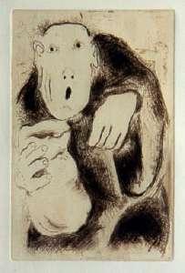 [Grossbild Chagall Original-Radierung in Rötel L´Avarice - Der Geiz #R1r]
