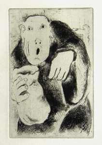 [Grossbild Chagall Original-Radierung L´Avarice - Der Geiz #R1]