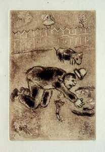 [Grossbild Chagall Original-Radierung in Rötel L´Avarice - Der Geiz #R2r]