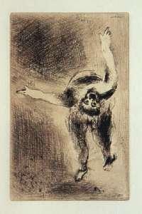 [Grossbild Chagall Original-Radierung in Rötel La Colère - Die Raserei #R3r]