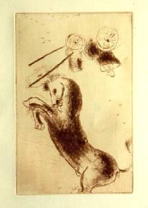 [Grossbild Chagall Original-Radierung La Colère - Die Raserei #R4r]