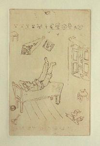 [Grossbild Chagall Original-Radierung in Rötel La Paresse - Die Faulheit #R6r]