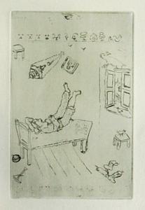 [Grossbild Chagall Original-Radierung La Paresse - Die Faulheit #R6]