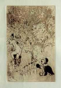 [Grossbild Chagall Original-Radierung in Rötel L´Envie - Die Gier #R9r]