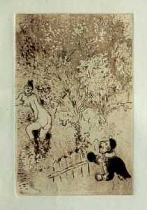 [Grossbild Chagall Original-Radierung in R�tel L�Envie - Die Gier #R9r]