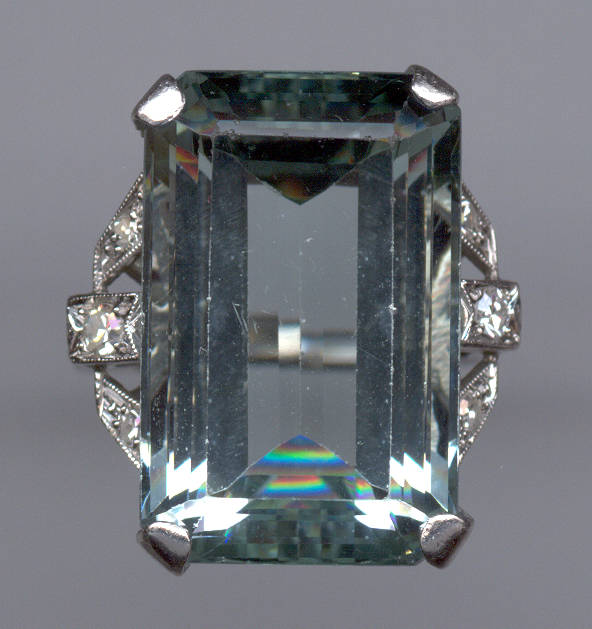 Diamond Ring With Aquamarine
