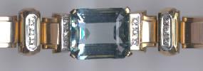 [Ausschnitt Aquamarin Diamant Gold Armband #12]
