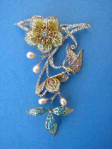 [Grossbild Perlen Blüten Brosche #7]