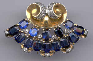 [Grossbild Platin Saphir Diamant Brosche #11]