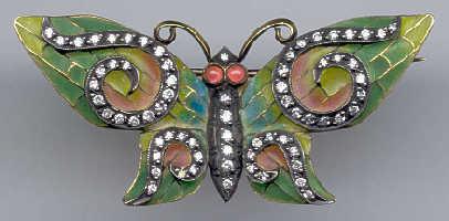 [Grossbild Schmetterling Gold Rubin Brillant Brosche #17]