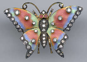 [Grossbild Schmetterling Gold Brillant Brosche #18]