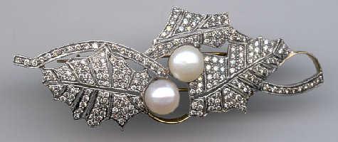 [Grossbild Gold Brillant Perlen Brosche #22]