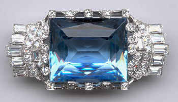 [Grossbild Platin Aquamarin Diamant Brosche #8]