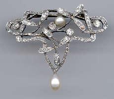 [Grossbild Gold Perlen Diamant Brosche #9]