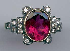 [Grossbild Rubelit Brillant Gold Ring #30]